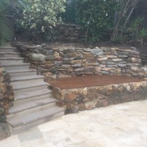 Stone Wall with Timber Deck